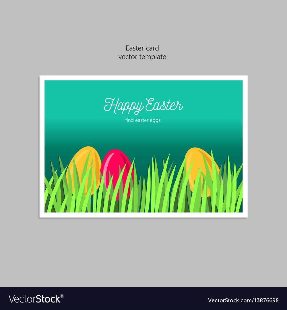 Greeting card with easter eggs in the grass vector image