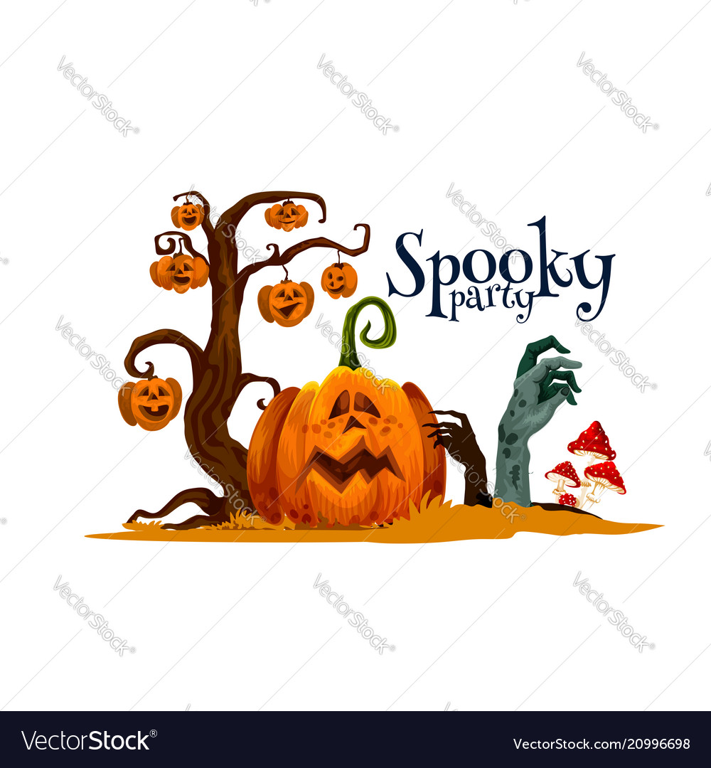 Halloween pumpkin card for horror party invitation vector image