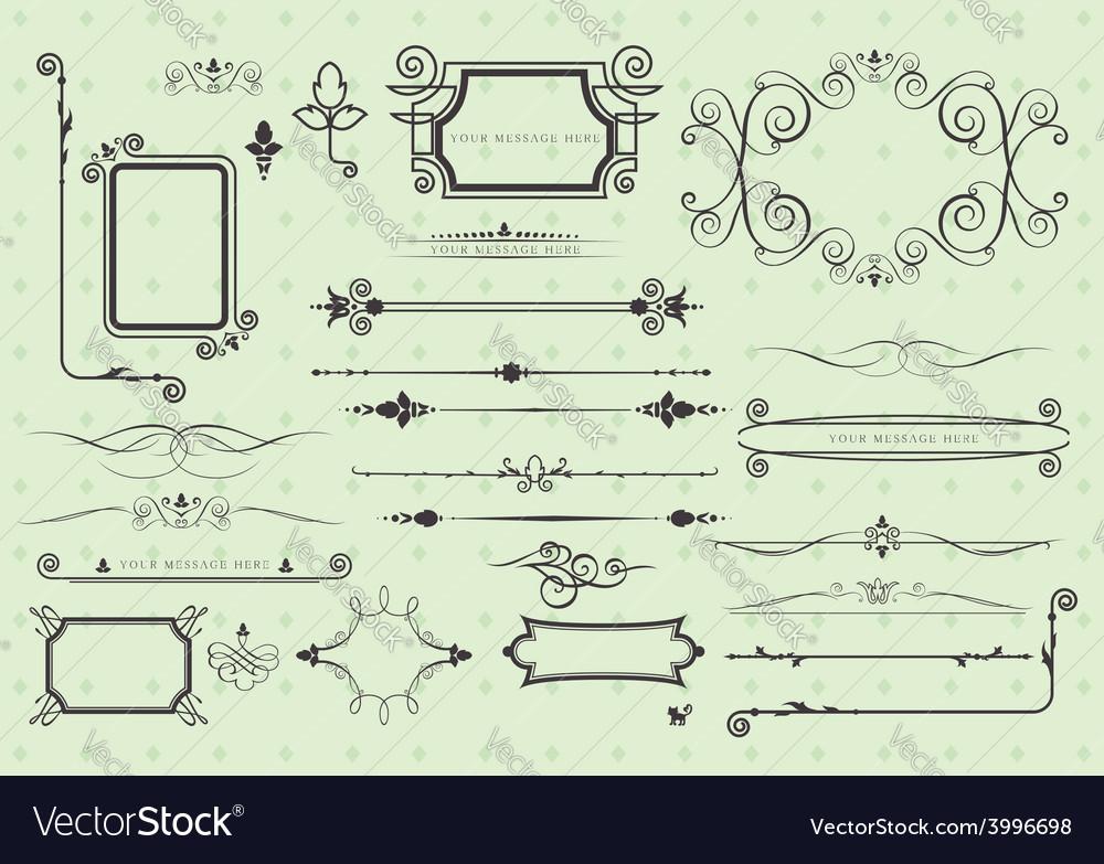 Set of vintage calligraphic elements