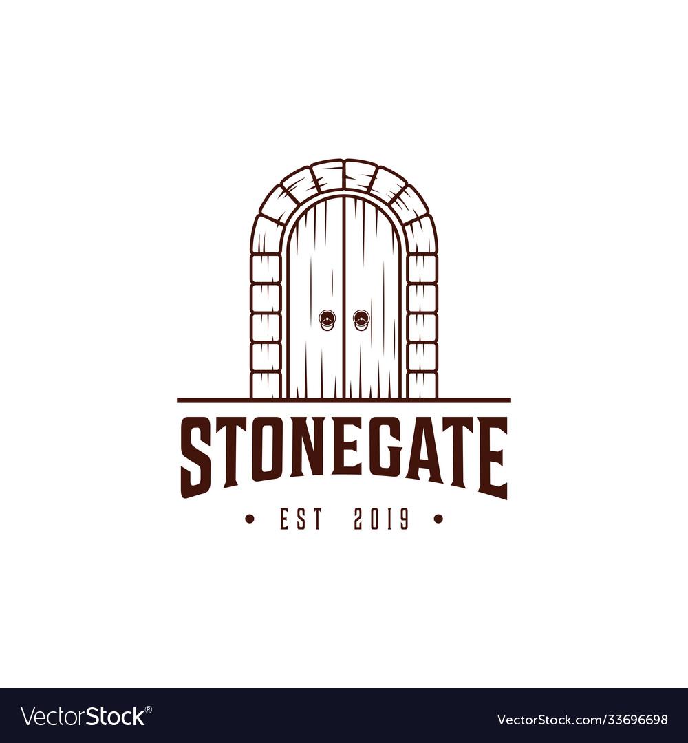 Stone gate logo design templatedoor with
