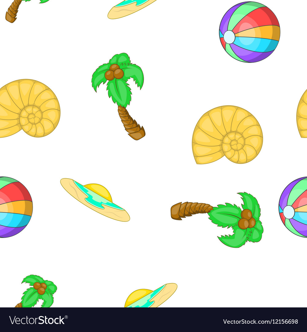 Summer holiday pattern cartoon style vector image