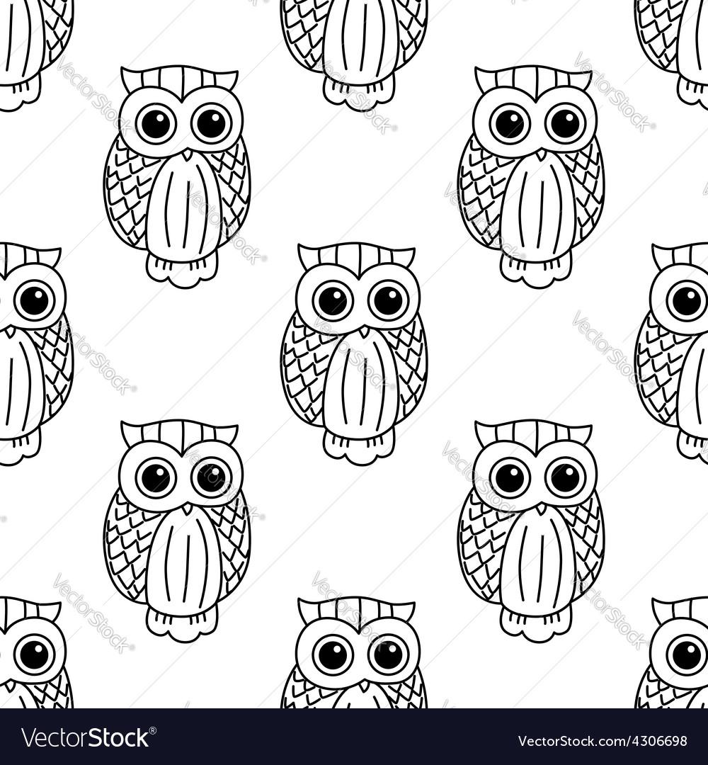 Vintage cute black owls seamless pattern