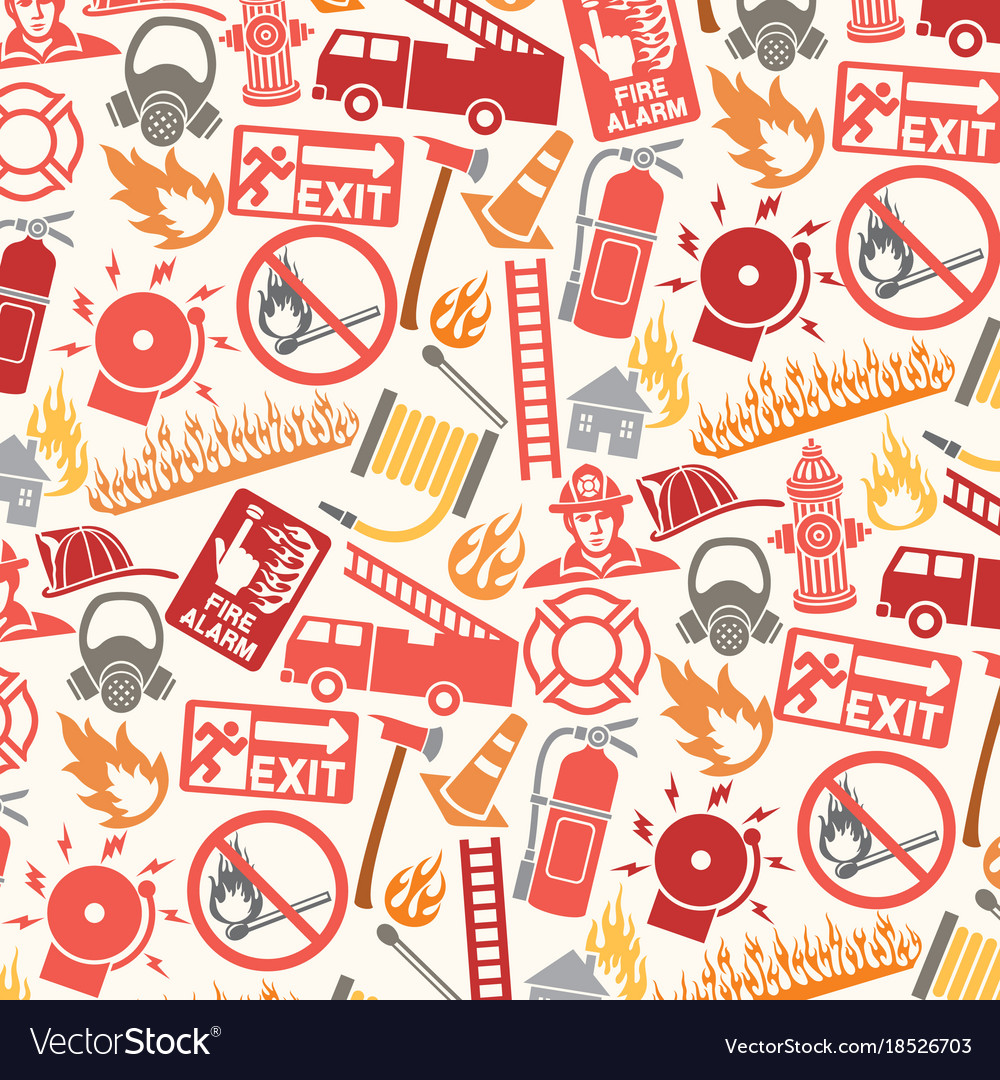 Background pattern with firefighter icons and symb