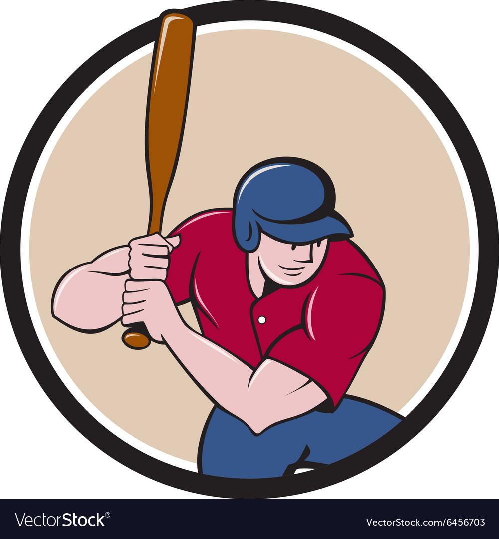 Baseball Player Batting Circle Cartoon