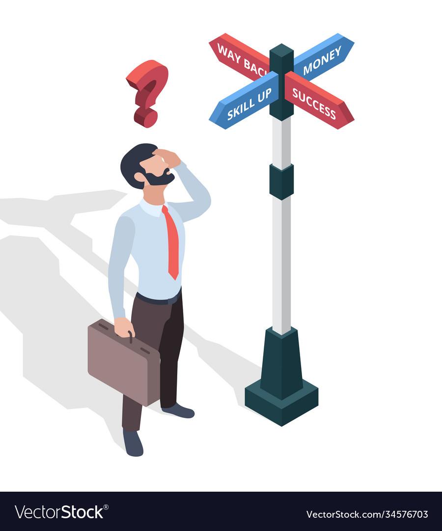 Businessmen choosing destination direction arrows