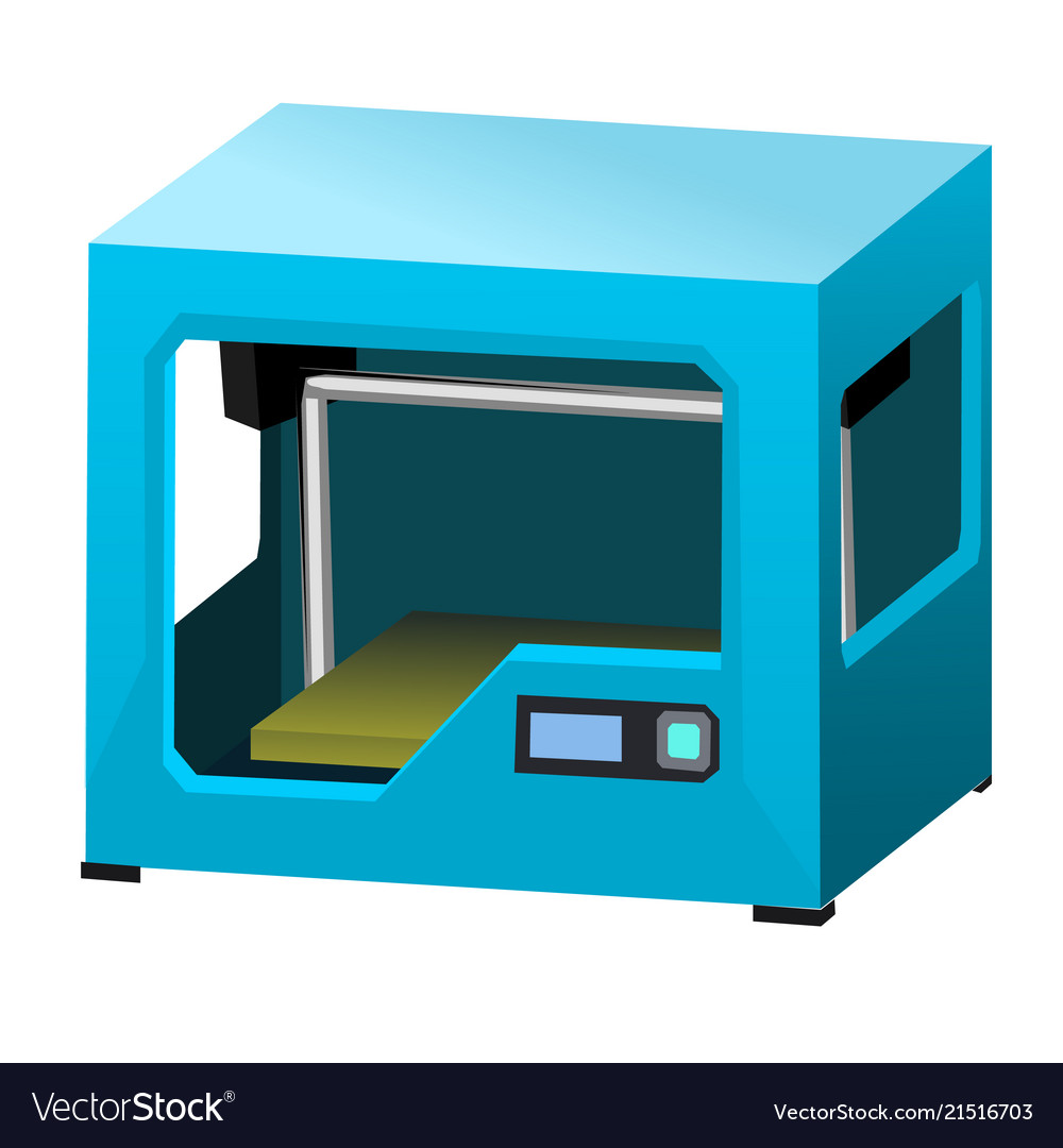 Cartoon 3d printer isolated on white background