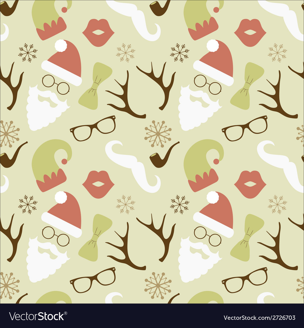 Christmas Hipster Retro Seamless Pattern