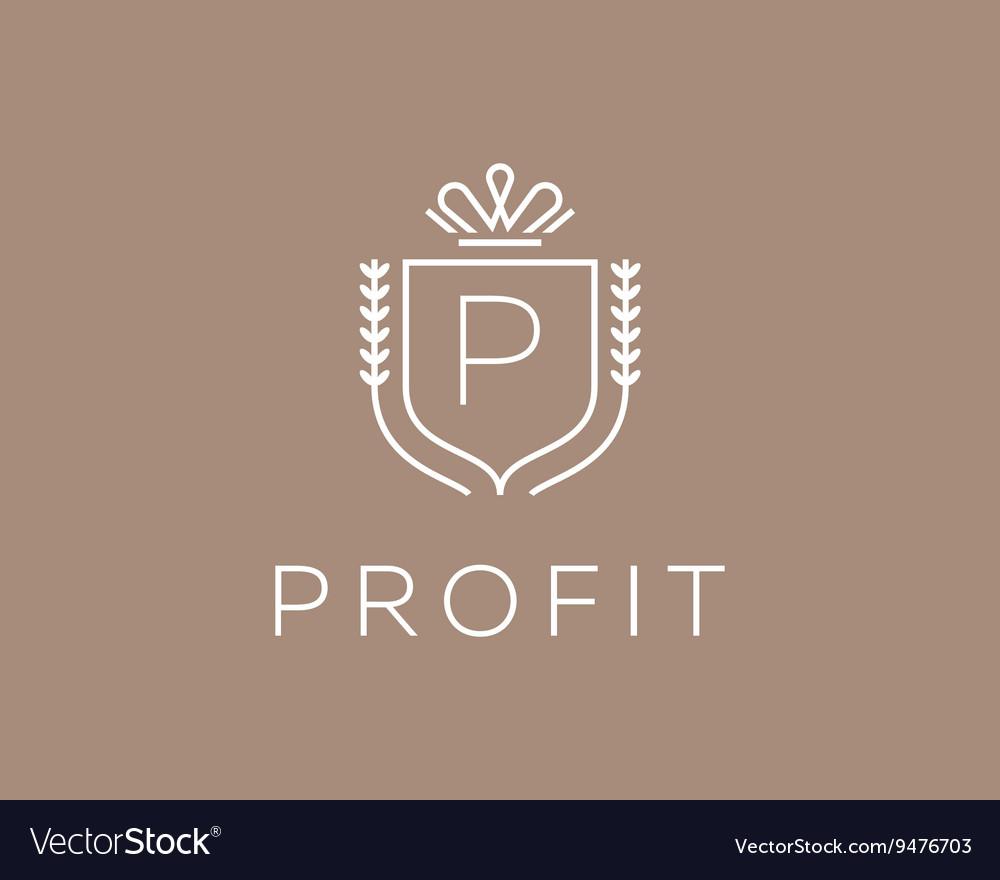 Elegant monogram letter P logotype Premium crest