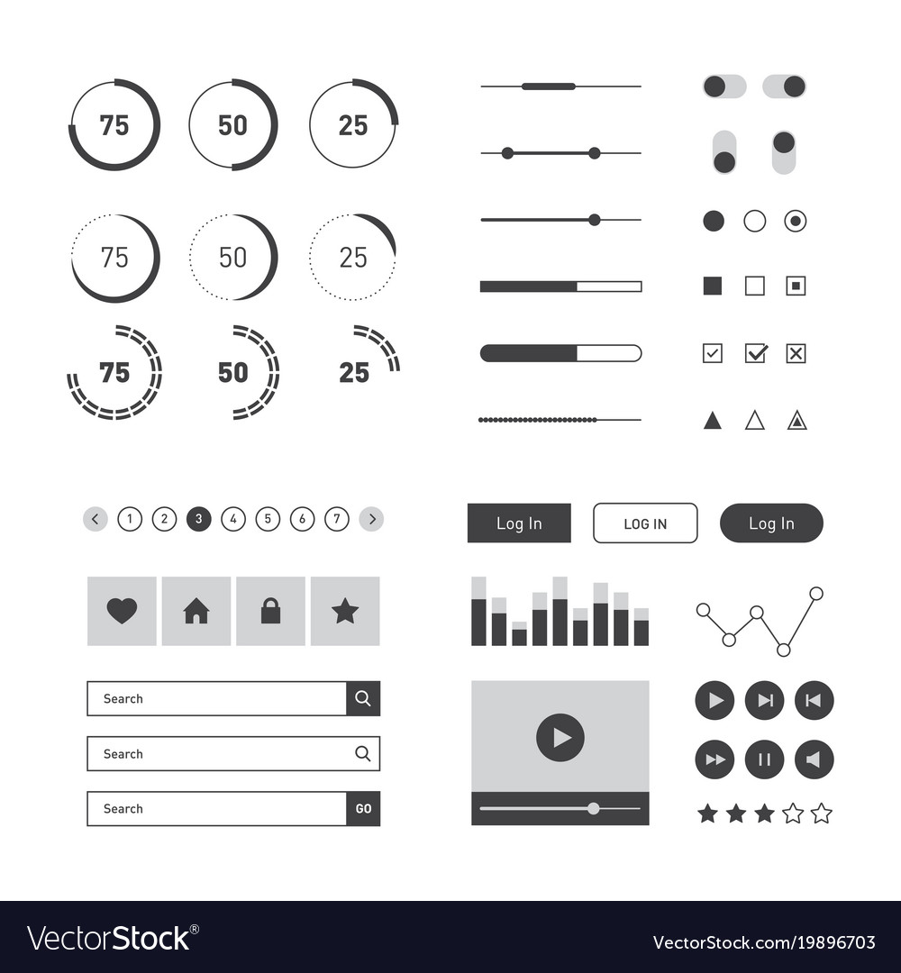 Flat ui kit template for website mobile and vector image