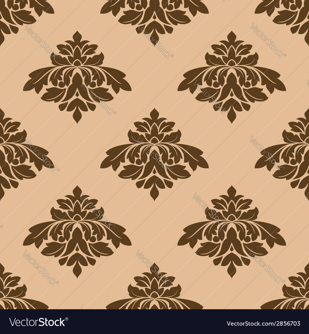 Floral seamless pattern with brown on beige