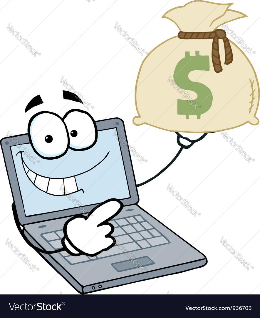 Laptop Cartoon Character Displays Money Bag vector image