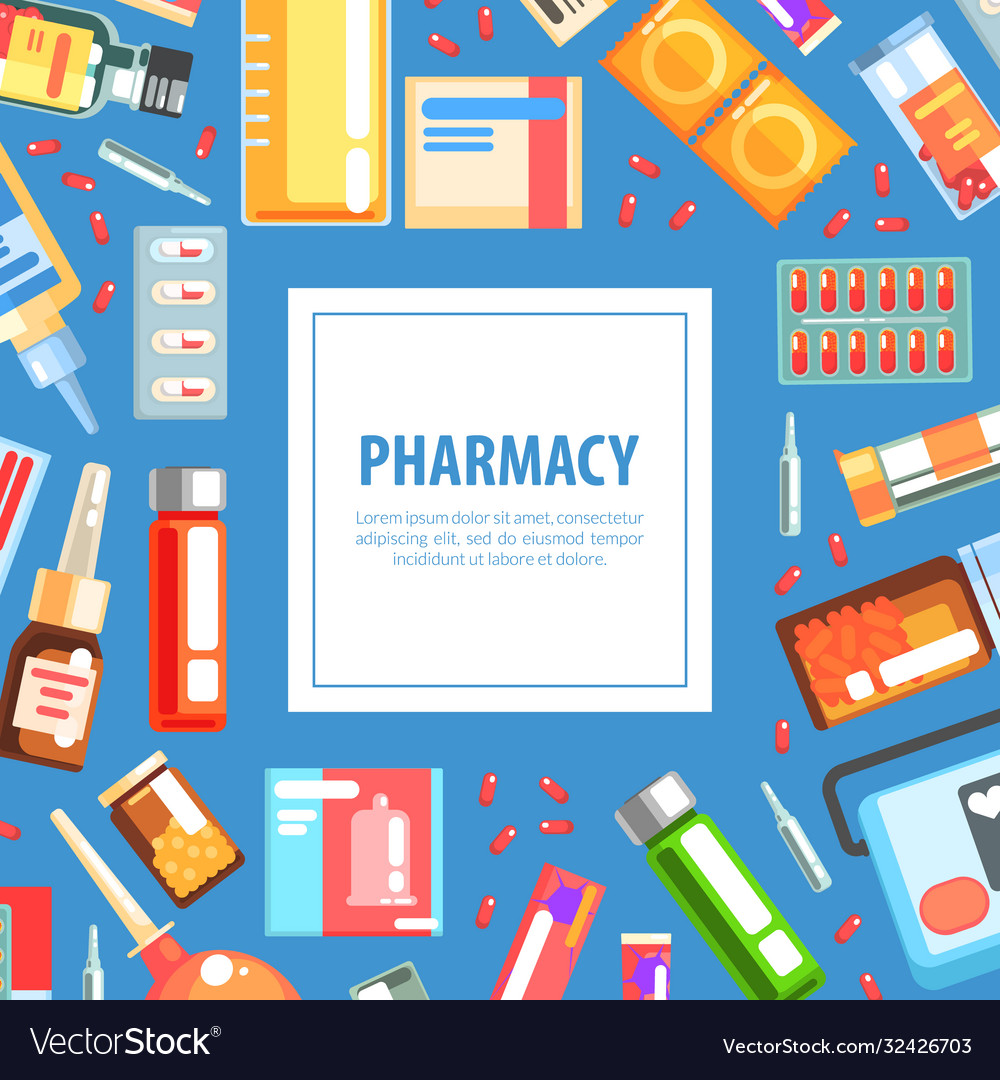 Pharmacy Banner Template Medicine And Healthcare Vector Image