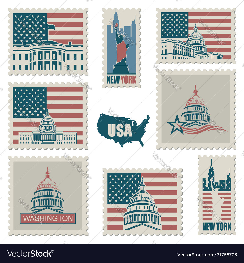 Postage stamps with american symbols