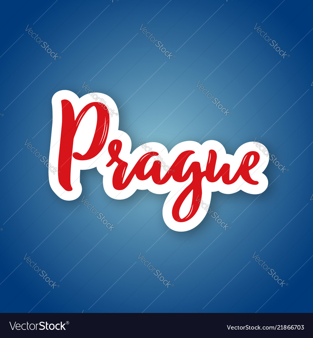 Prague - hand drawn name of czech capital sticker