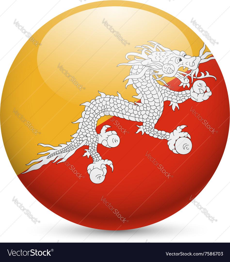 Round glossy icon of bhutan vector image