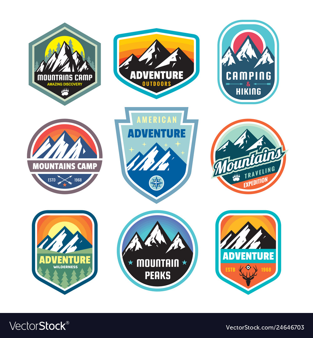 Set of adventure outdoor concept badges summer