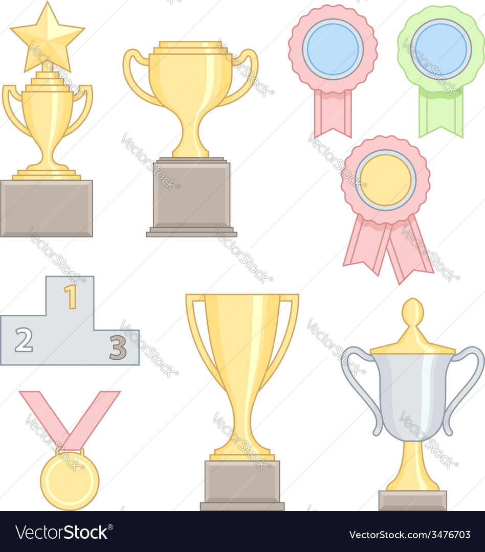 Set of award success and victory colorful line