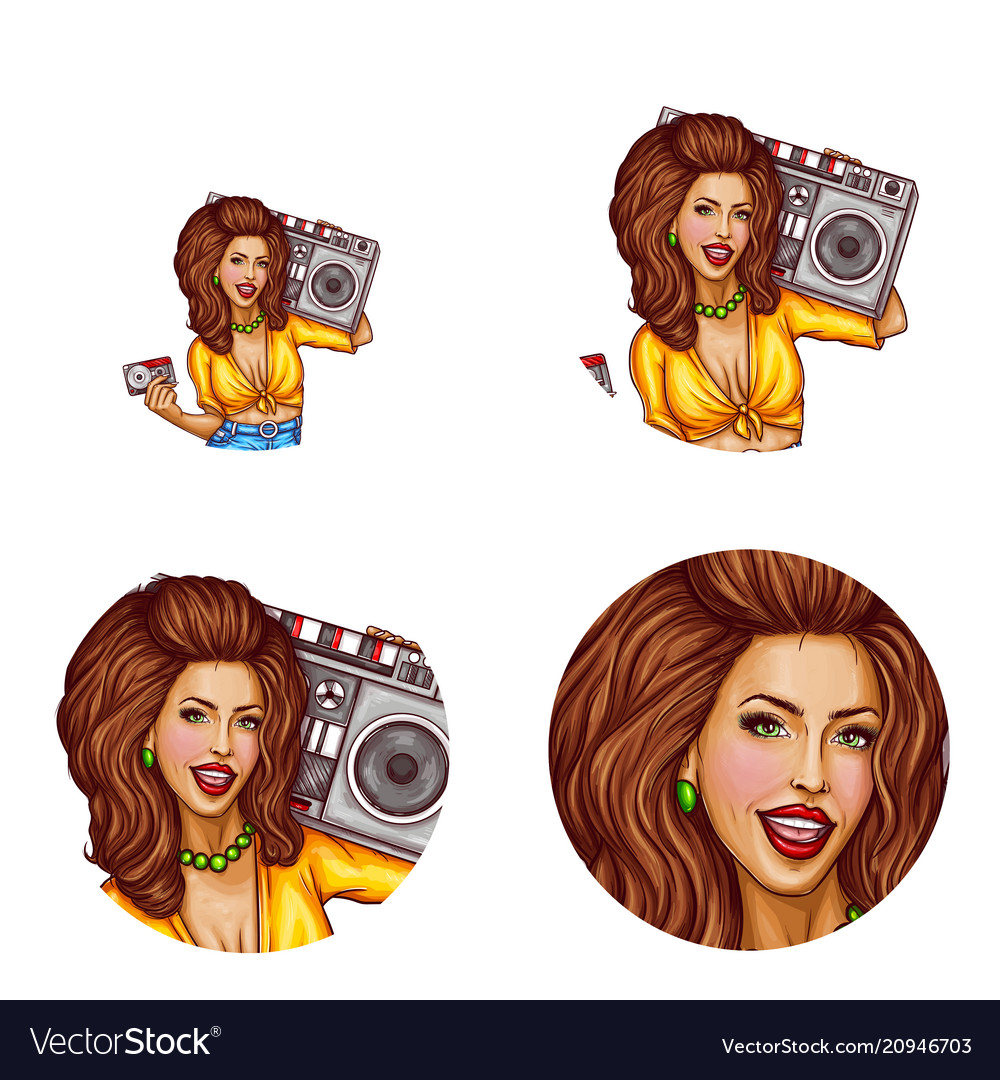 Set of female avatars in pop art style