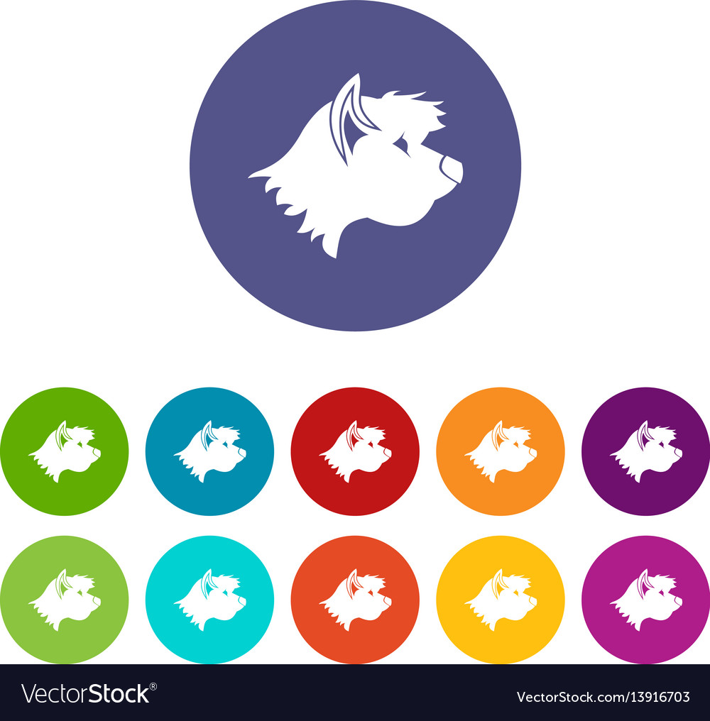 Terrier dog set icons vector image