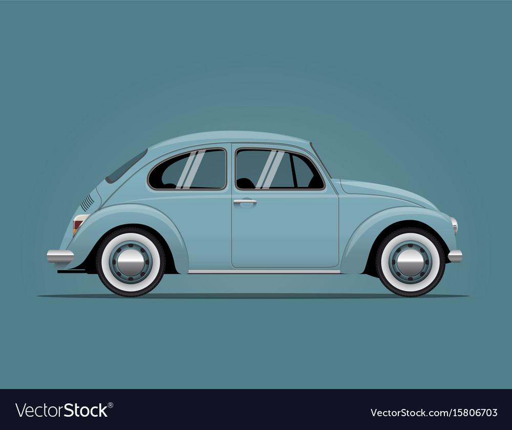 The vintage blue car