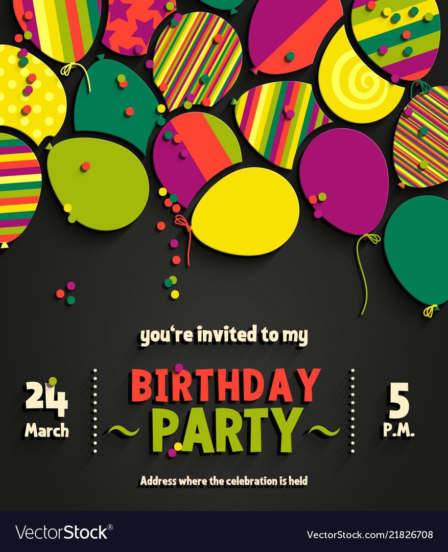 Birthday Invitation Card With Colorful Balloons