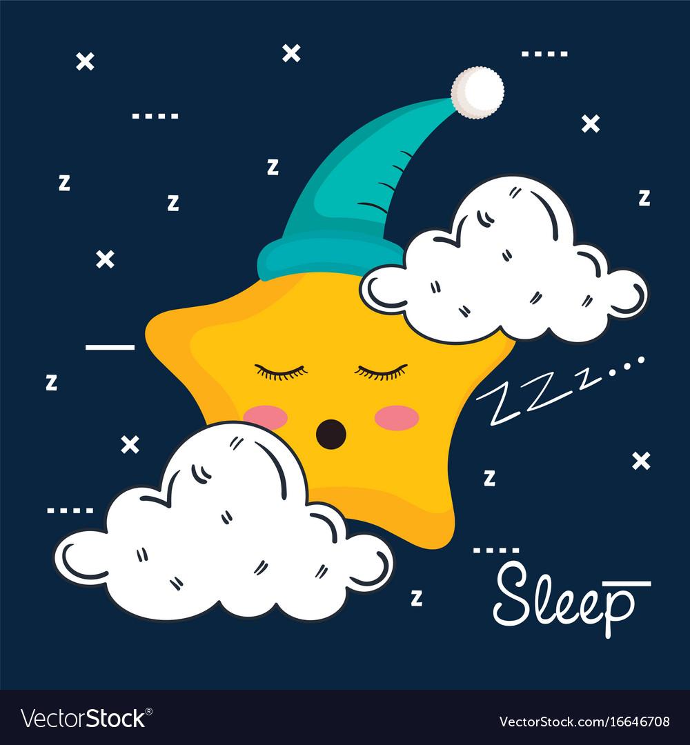 Cloud and star icon sleep night dreams symbol vector image
