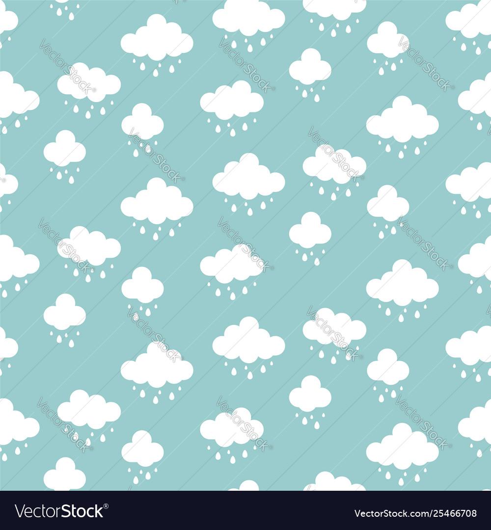 Clouds background rain drops pattern seamless