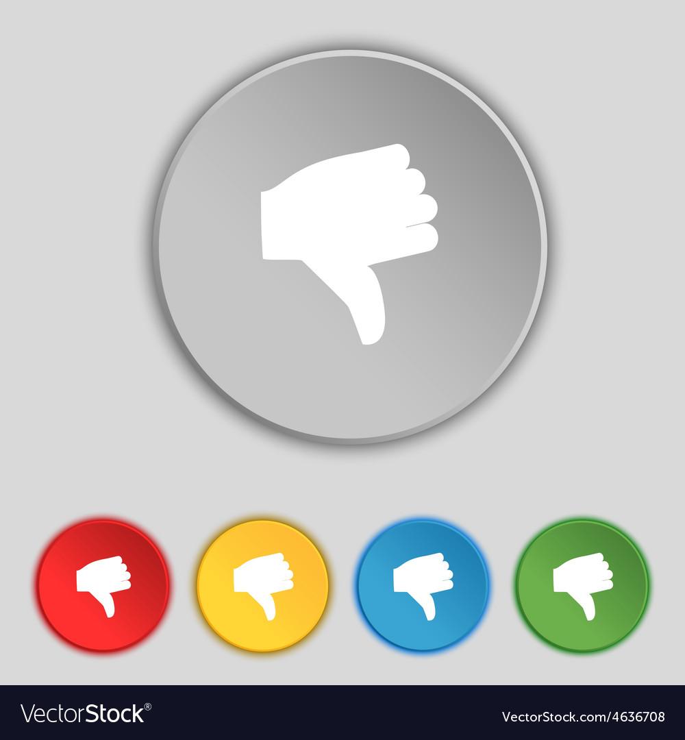 Dislike Thumb down icon sign Symbol on five flat