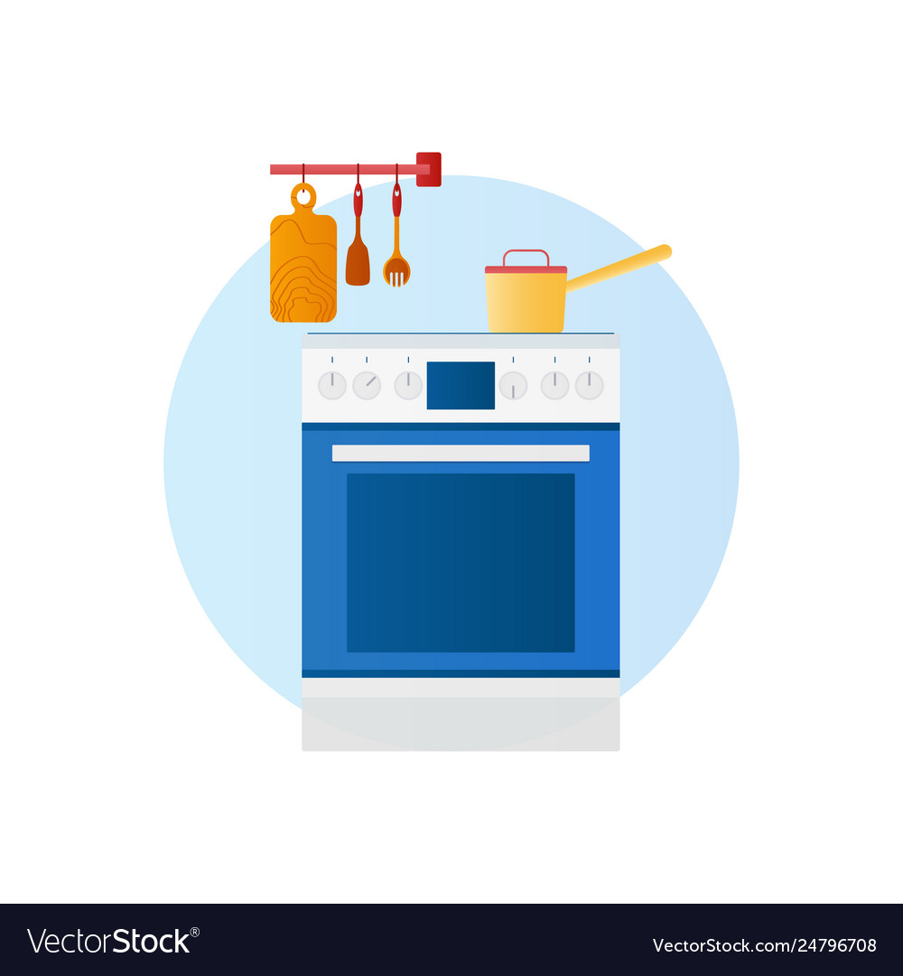 flat design icon kitchen with household