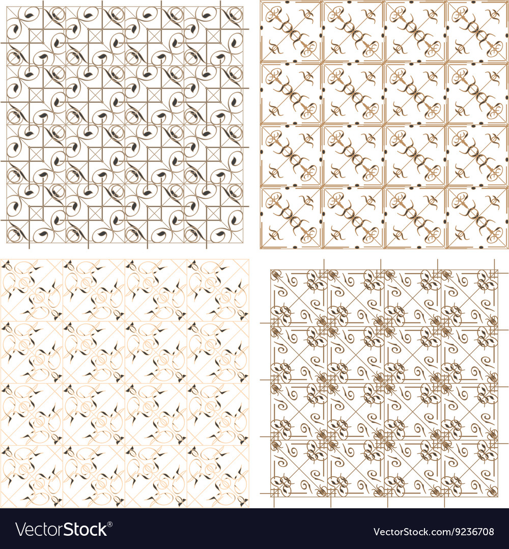Geometric seamless patterns set