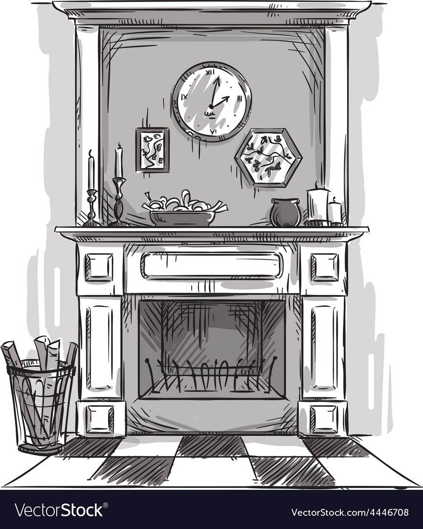 Hand drawn fireplace vector image