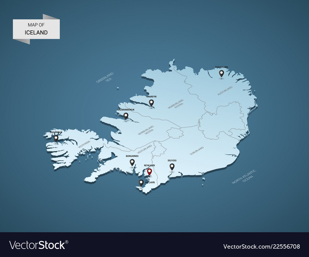 Isometric 3d iceland map concept Royalty Free Vector Image