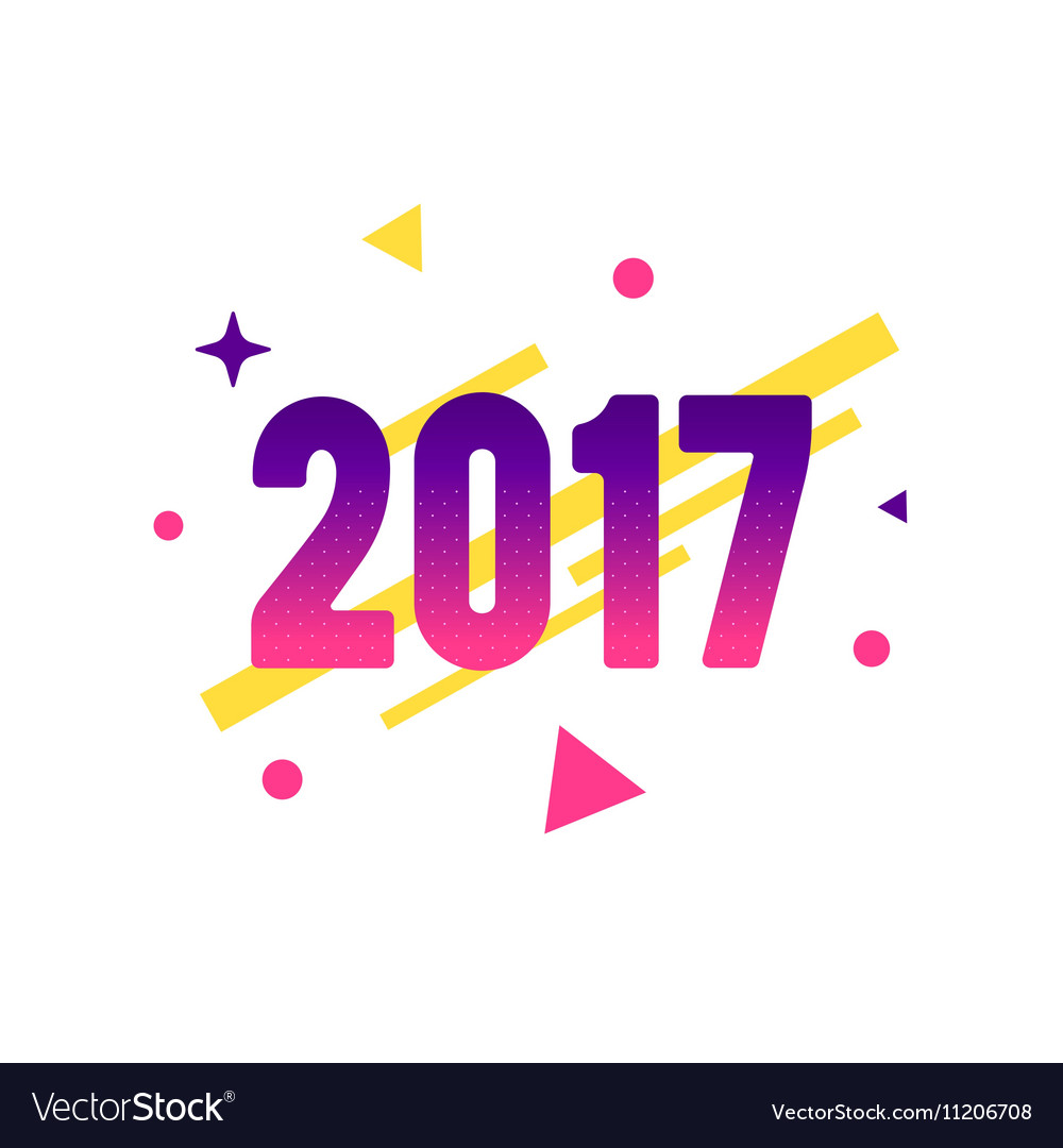 New Year 2017 flat style design concept for banner
