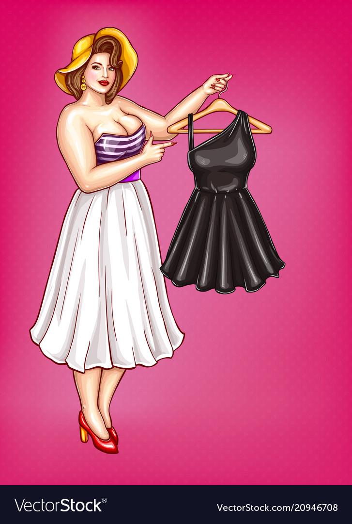 Pop Art Fat Woman Holds Hanger With Dress Vector Image