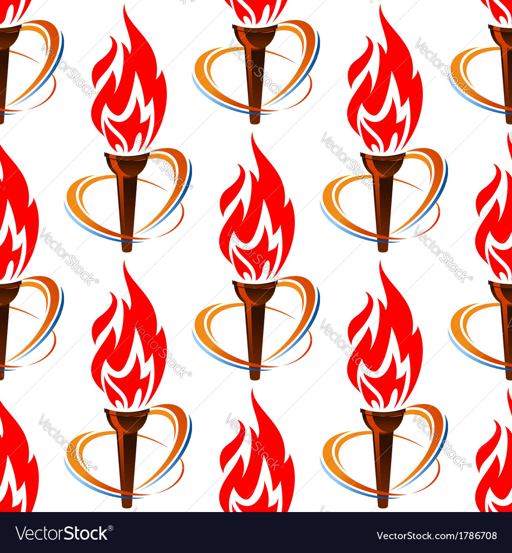 Seamless pattern with torch fire vector image