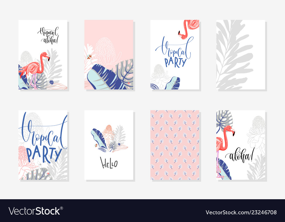 Set hand drawing tropical posters with flamingo