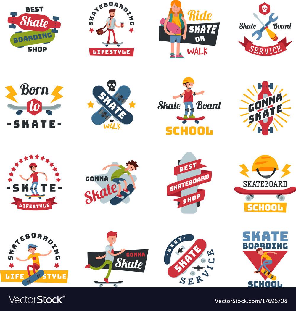 Skateboarders people tricks silhouettes sport logo