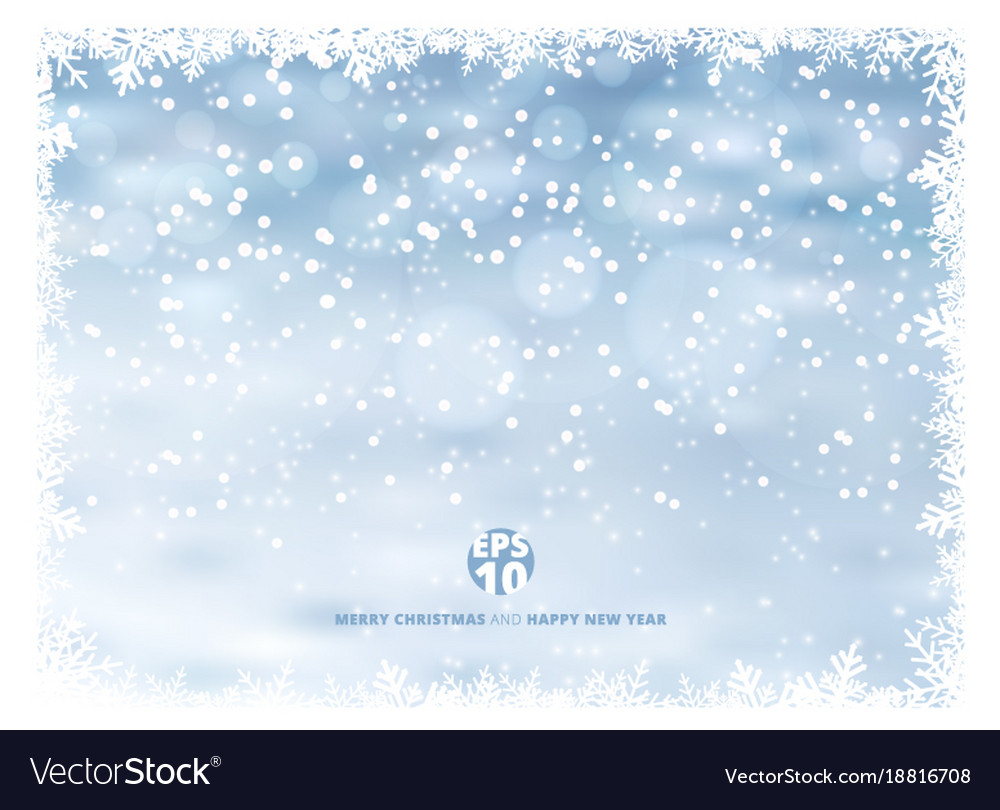 Snowflake frame winter background with snow on