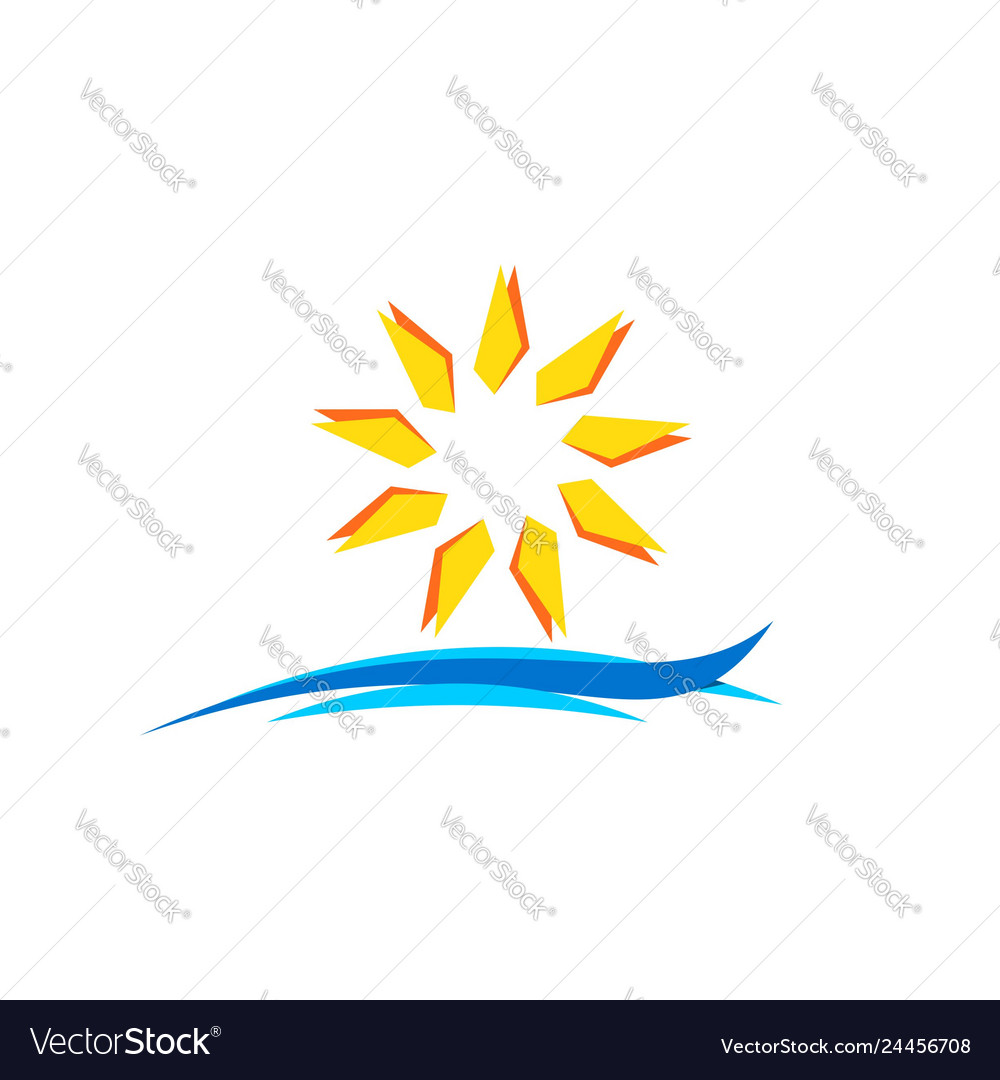 Sun and wave logo icon symbol design