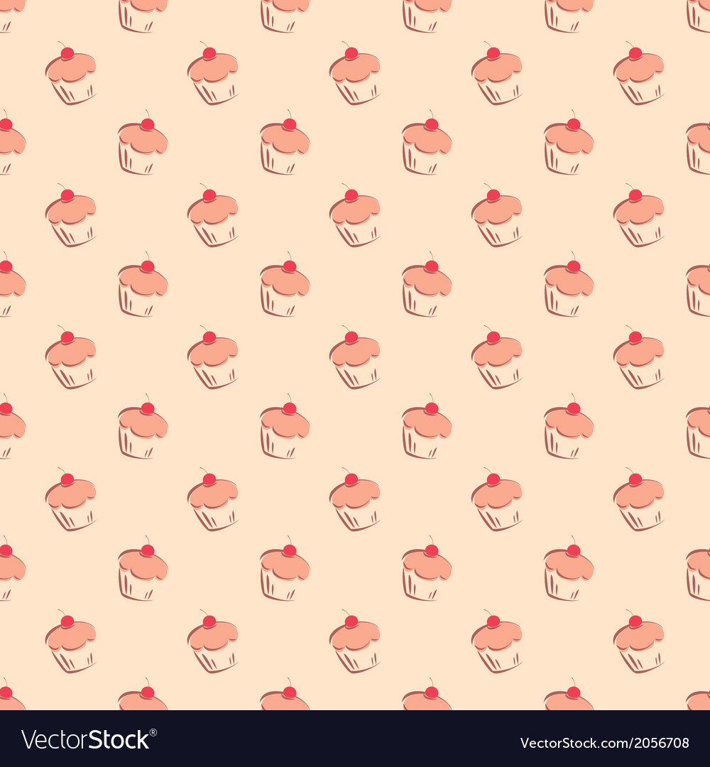 Sweet hand drawn cherry cake decoration wallpaper