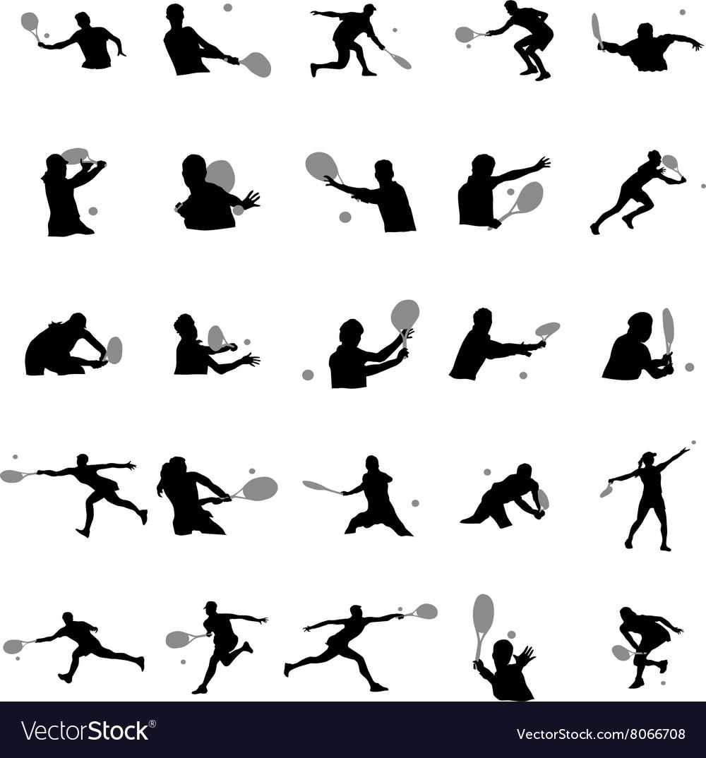 Tennis player silhouette set