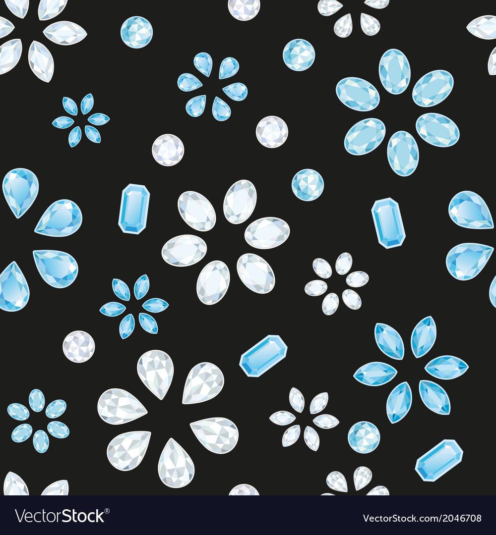 Transparent And Blue Diamonds Seamless Texture vector image