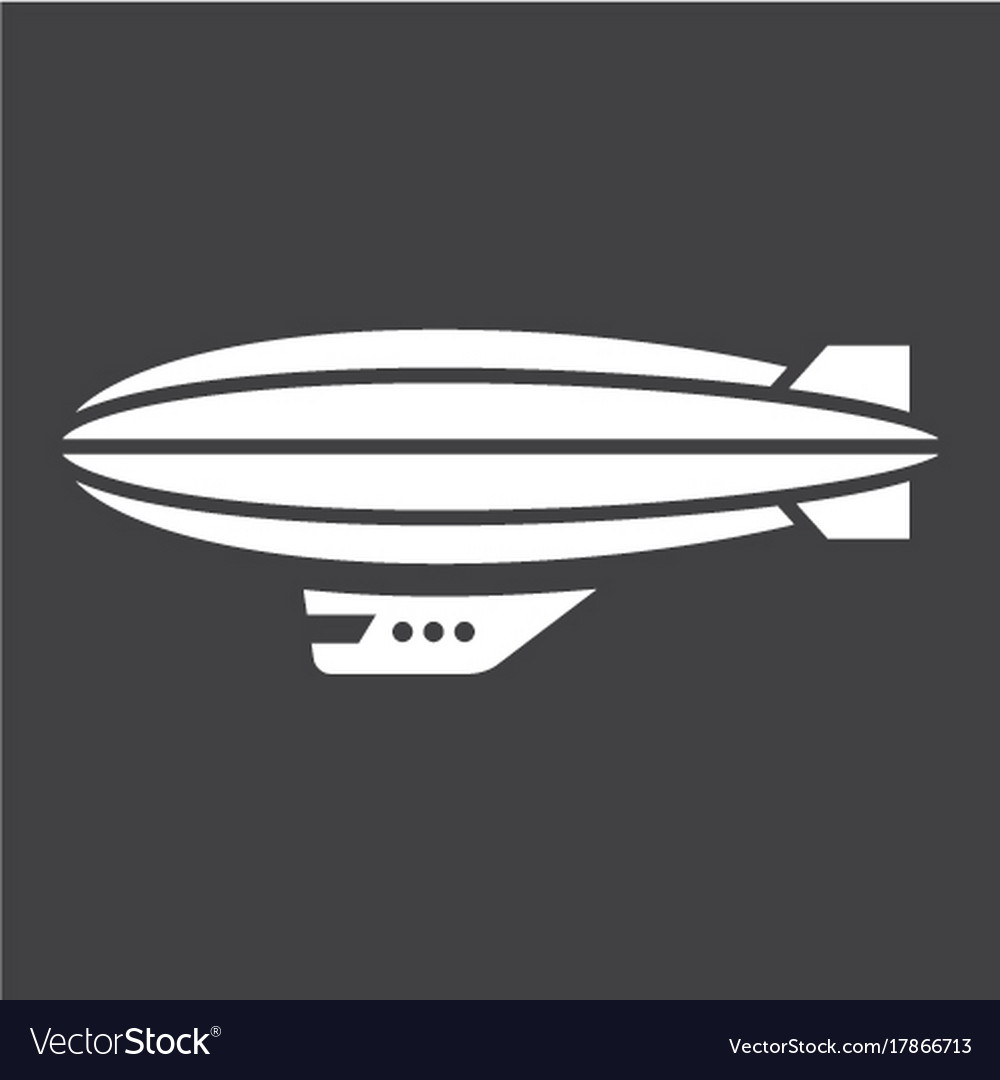 Airship blimp glyph icon transport and air