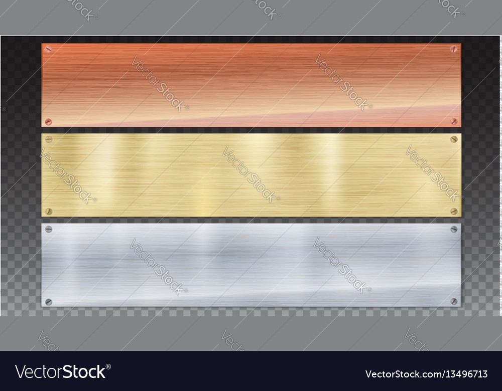 Banners of polished metal plates with screws vector image