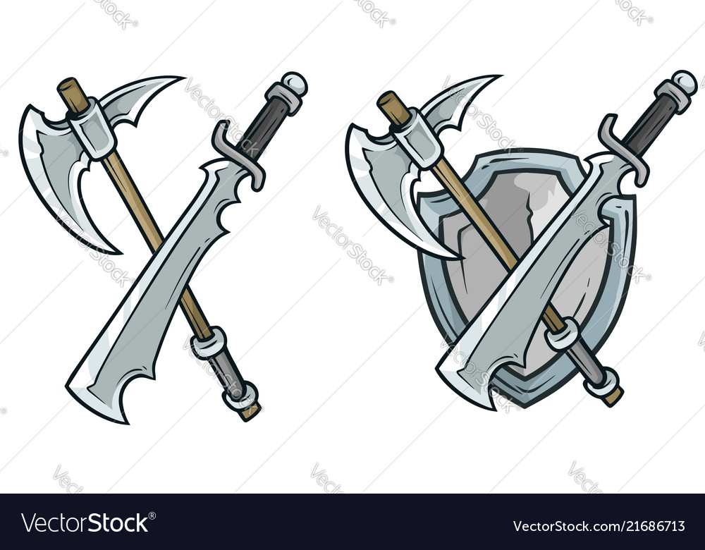 Cartoon coat of arms with axe and shield