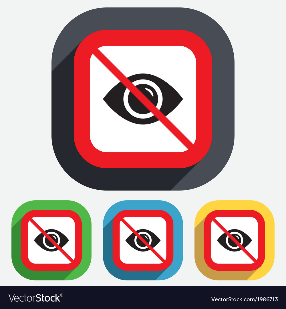 Do not look Eye sign icon Publish content