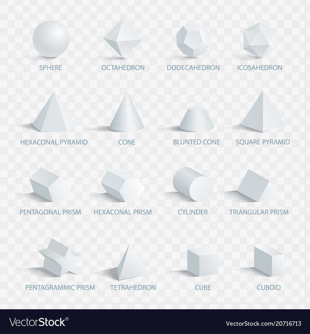 Geometric 3d Shapes With Names Royalty Free Vector Image