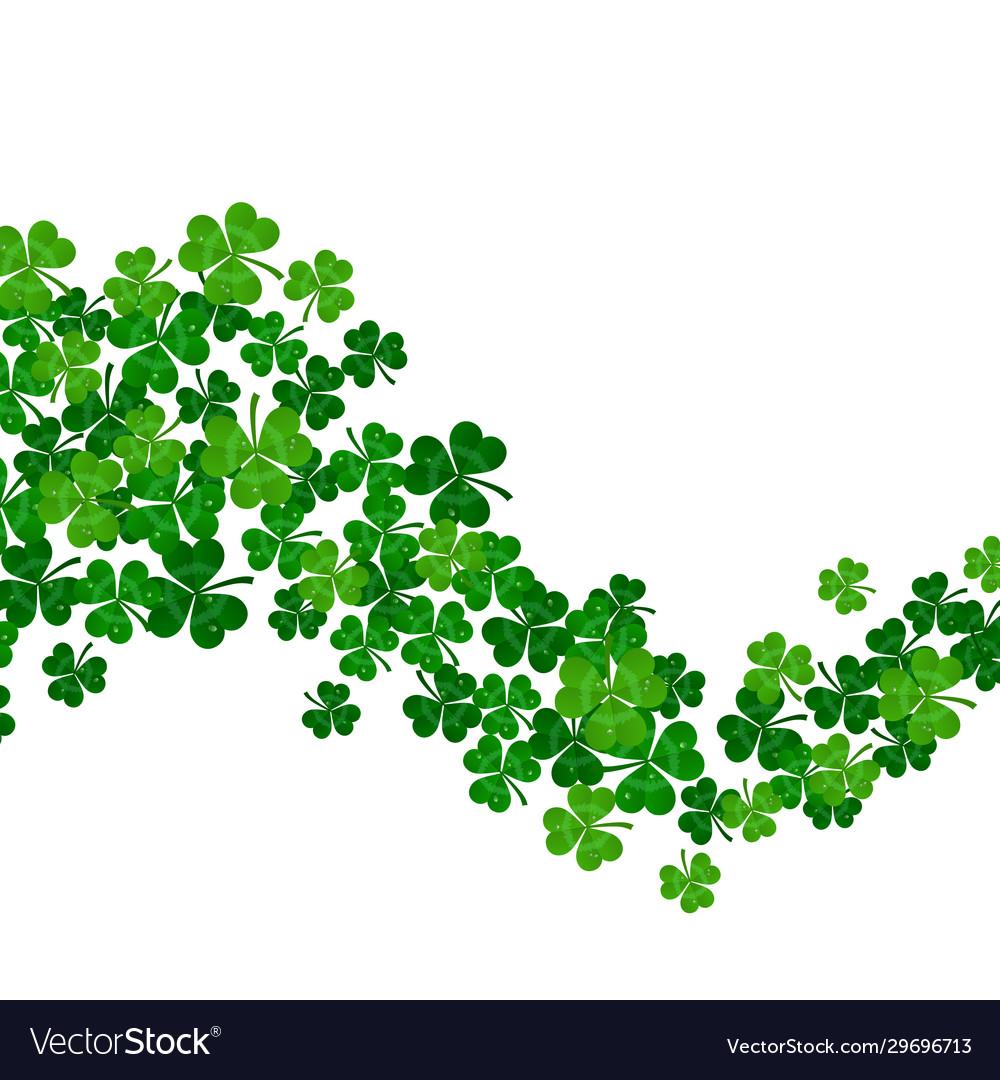 Green shamrocks wave on white background