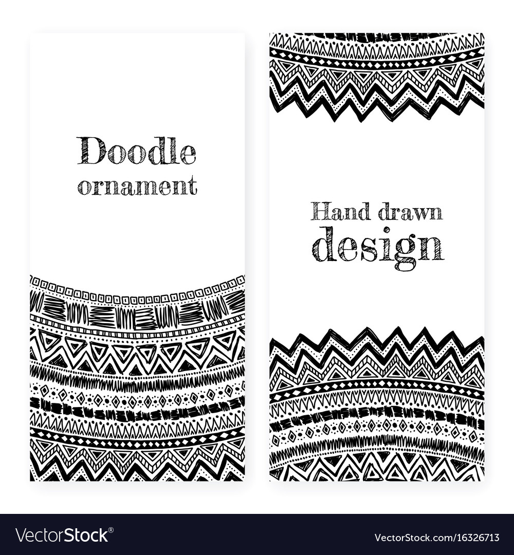 Hand drawn ornamental cards vector image