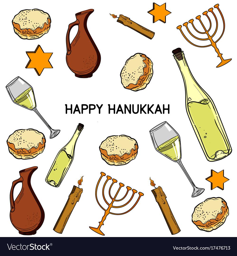 Hanukkah Traditional Jewish Holiday Symbols Vector Image